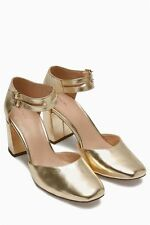 NEXT SQUARE TOE. Gold Bridal, heels, size 4.5 BNWT LADIES PARTY STRAP SHOES