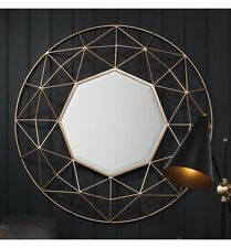 Andromeda Large Modern Contemporary Gold Metal 3D Frame Round Wall Mirror 36""
