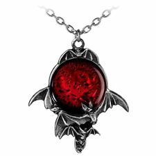 Official Alchemy Gothic Blood Moon Pendant - Necklace Jewellery Red Pewter