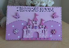 Princess Castle Name Plaque Door Personalised Girls Room Playroom