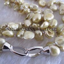 "18"" 5-7mm 2Row Champagne Keshi Freshwater Pearl Necklace Jewelry U"