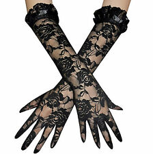BLACK ROSE LACE Design Stretch Gloves GOTH Fancy Dress Christmas New Year Party