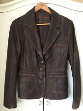 next ladies real leather blazer jacket size 14 brown distressed look button uo