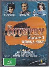 THE COUNTRY COLLECTION 3 - WORDS & MUSIC - 3  DVD's -  NEW - CLASSIC TRACKS