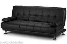 3 Seater Sofa Bed Faux Leather Living Room Couch Seat Metal Feet Black Furniture
