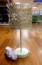 NEW LARGE ANTIQUE GOLD MOROCCAN CRYSTAL BUTTERFLY Table LAMP METAL LIGHT BEDSIDE