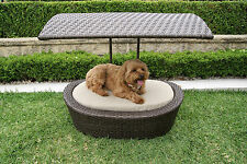 Wicker Dog Cat Pet Sun Bed House with Canopy & Pad Cushion