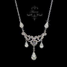 Swarovski Crystal Clear Teardrop Victorian Necklace Wedding Bride 925 Silver