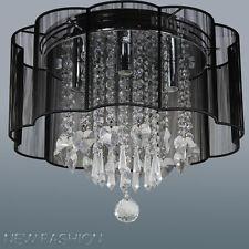 4-light Ceiling Light Black String Shade Flush Mount Crystal  Pendant Chandelier