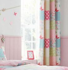 "PATCHWORK FLORAL GINGHAM PINK BLUE GREEN 66""X72""-168X183CM RING TOP CURTAINS"