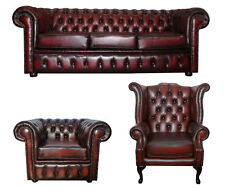 Chesterfield 3 Seater w/ Queen Anne & Club Chair Antique Oxblood