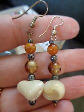 HAND CRAFTED MOTHER OF PEARL & CARNELIAN CHUNKY BEAD SURFER STYLE EARRINGS