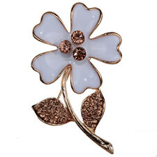 Pretty White Flower Gold Plated Bouquet Design Pin Women Brooch Wdding Jewelry