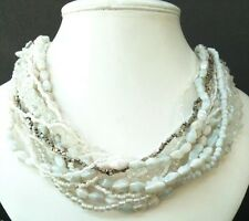 Wedding Party Prom White Crystal Jewellery Milk GlassPearl Multi Strand Necklace