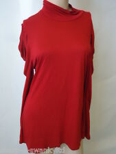 ☆ Ladies Red High Neck Long Sleeved Stretch Top UK 16 EU 44 ☆