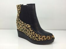 LADIES WOMENS ANKLE HIGH LEOPARD STYLE WEDGE HEEL PLATFORM BOOTS SIZE 3