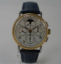 HAU Baume & Mercier Lemania cal. 1883 Mondphasen Chronograph watch steel Stahl