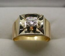 Vintage Superb Gents Heavy 18ct Gold And 0.50ct. Diamond Solitaire Ring