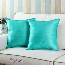 Set of 2 Aqua Color Cushion Covers Pillows Shell Dyed Stripes Home Decor 45x45cm