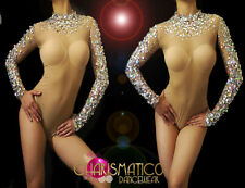 Sexy Nude Illusion iridescent Crystal and sequin accented burlesque leotard