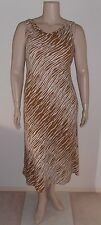 MONTI Sz 14 cream mocha animal print sleeveless cowl neck bias shift Dress