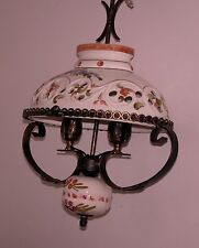 VINTAGE OVAL METAL/CERAMIC FRENCH/SPANISH FARMHOUSE CEILING LIGHT /CHANDELIER