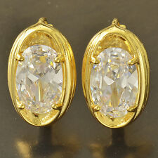 18K Yellow Gold Plated Oval Crystal Womens Fashion Hoop Earrings Vintage Cute