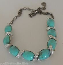 Estate Vintage Faux Turquoise Stone Silver Plated Southwestern Fashion Necklace