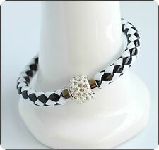 Mens Womens Leather Bracelet Bangle Silver Magnetic Rhinestone Free Gift Bag 35