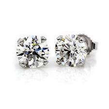 1CT BRILLIANT LAB DIAMOND EARRINGS 14K SOLID WHITE GOLD ROUND SCREW-BACK STUDS
