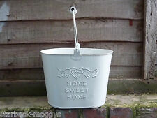 SHABBY PAINTED WHITE METAL OVAL BUCKET FLOWER PLANTER CHIC BIRDS HOME SWEET HOME