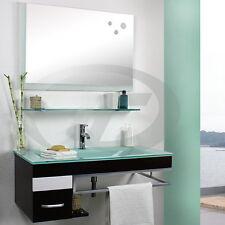Badmöbel Badezimmer Möbel Set ZARAGOSSA Waschbecken Armatur Spiegel Braun