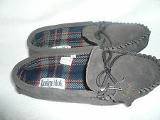 MENS MOCCASIN SLIPPERS SIZE 9UK 43EU DARK BROWN REAL SUEDE BY COOLERS