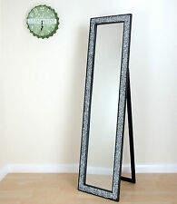 Shanghai Style Mosaic Glass Crackle Free Standing Cheval Mirror Black 45cmx170cm