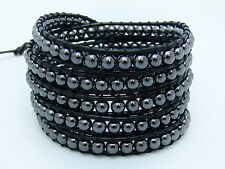5 Wrap Bracelet all 4mm HEMATITE  beads BLACK leather  fashion bracelet