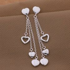 Ladies 925 Sterling Silver Four Heart Chain Stud Drop Fashion Earrings Gift Bag