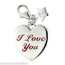Sterling Silver clip on Charm Tingle I Love You Heart with gift Bag and Box