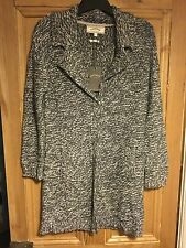 Brand New Women's Fat Face Long Cardigan Grey And White Knit Size Smal