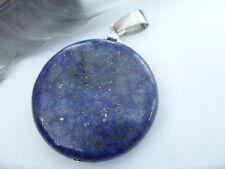 Großer 30 mm Lapis Lazuli Button Ketten Anhänger mit Edelstahl Ketten- Schlaufe