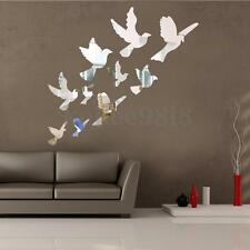 10PCS MODERN 3D MIRROR FLYING BIRDS WALL STICKER DECOR DECAL ART MURAL HOME ROOM