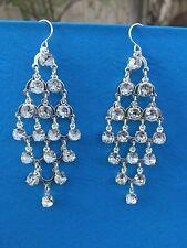 Avon Bold Chandelier Earrings Pierced Silvertone Long NEW Silver faux Stones
