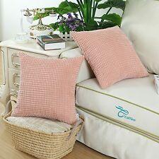 2Pcs Cushion Cover Pillow Shell Coral Pink Corduroy Corn Striped Home Decor 45cm