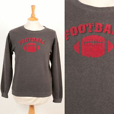 MENS VINTAGE RETRO AMERICAN FOOTBALL GREY CREW NECK COLLEGE STYLE SWEATER S