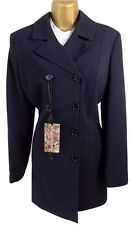 YESSICA C&A vintage size 12 ladies tailored long line jacket navy workwear