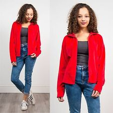 REEBOK RED VELOUR TRACKSUIT JACKET TOP WOMENS SPORTS CASUAL GYM LOUNGE 12 14