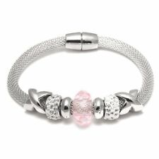 Hot Pink Beads Crystal Bracelet Silver Tone Chain Women Girls Fashion Jewelry