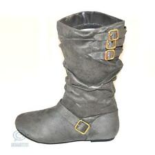 Mid Calf Grey Boot Size 6.5 AU Sexy Winter Faux Leather Round Toe Buckle Shoes