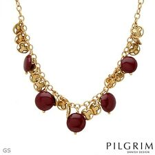 Ladies New Necklace Made of Yellow Base Metal and Red