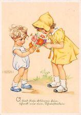AK Künstlerkarte Lungers Hausen Mädchen mit Junge Kinder Blumen