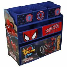 Marvels Spiderman Wooden Multi-bin Kids Toy Storage Organiser Childrens Tidy